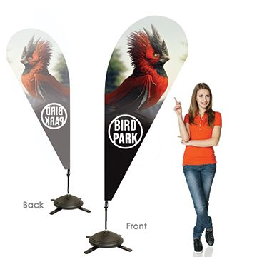 Teardrop Banners Single Sided, Right Facing Option with Pole on the Left