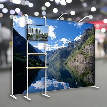 Tension Fabric Displays with Footed Straight Shape Options