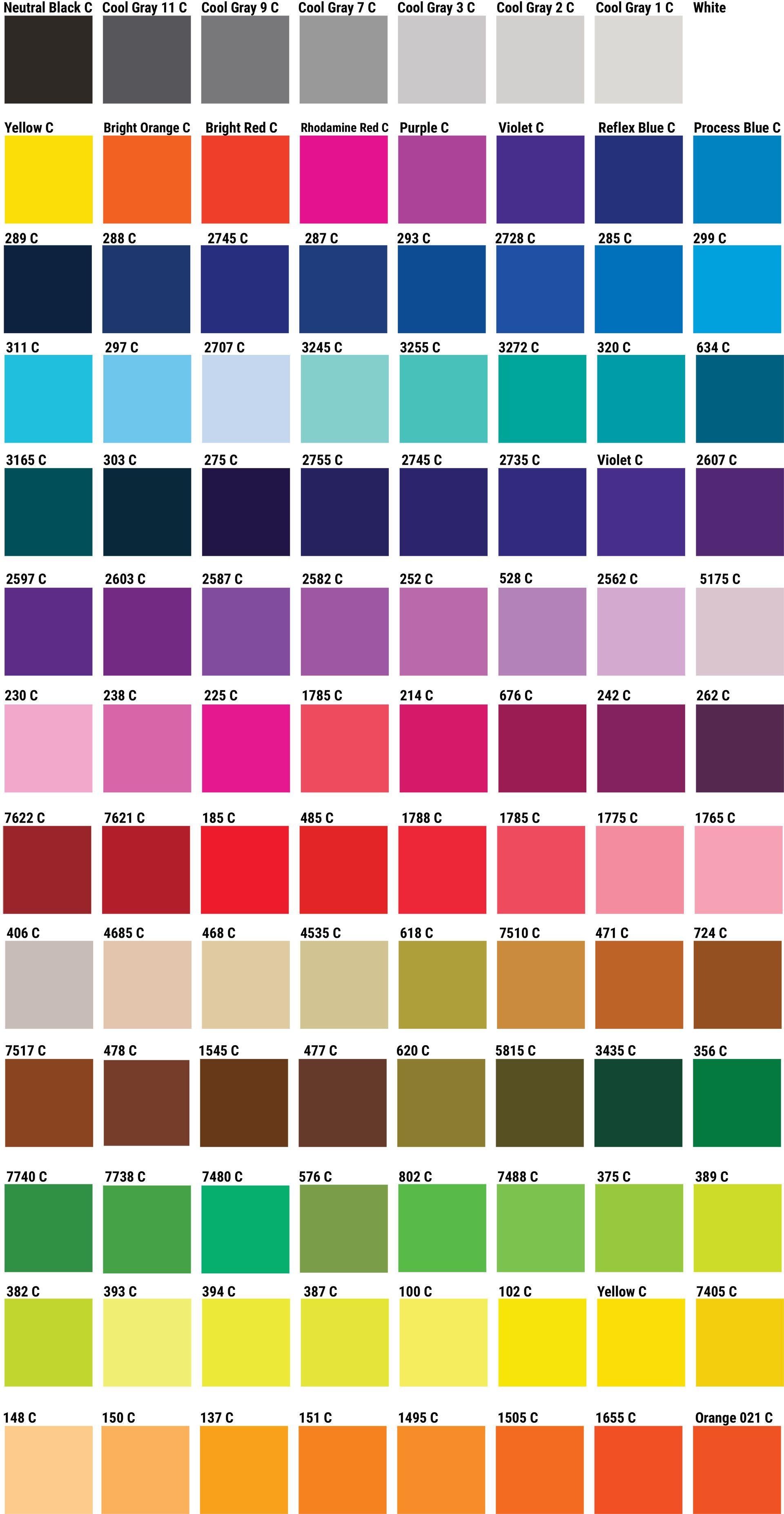 Popular PMS Color Chart