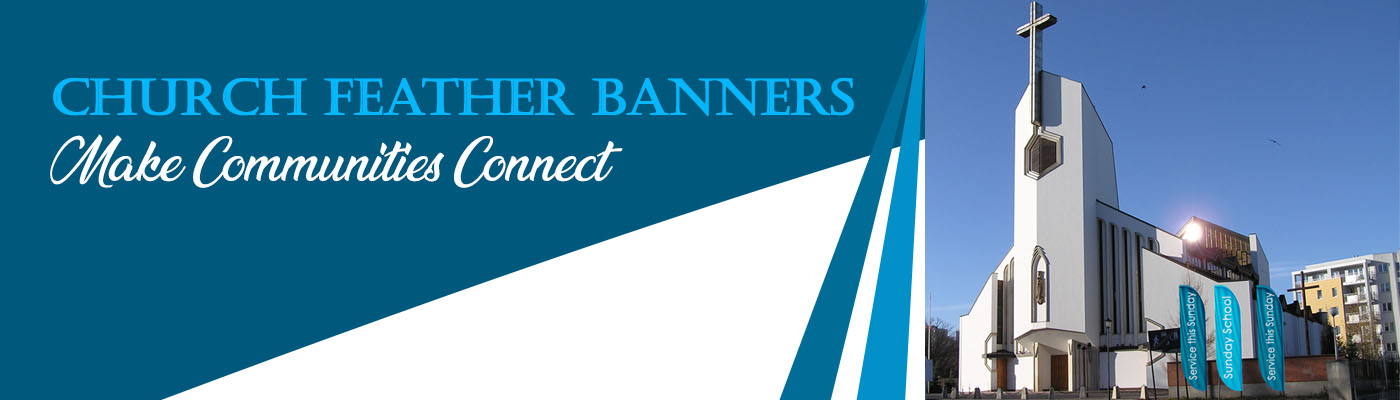 Church Feather Banners Make Communities Connect