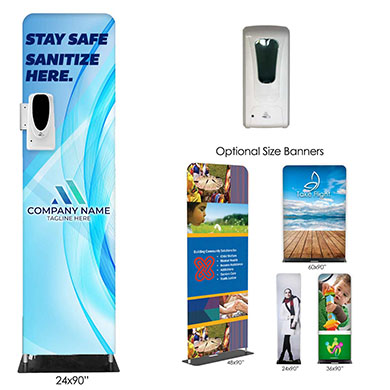 Fabric Banner Stands with Sanitizer Dispenser