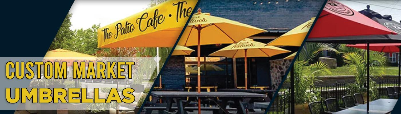 Create Attractive & Social Distanced Outdoor Spaces - Custom Market Umbrellas