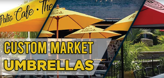 Create Attractive & Social Distanced Outdoor Spaces - Custom Market Umbrellas| Lush Banners