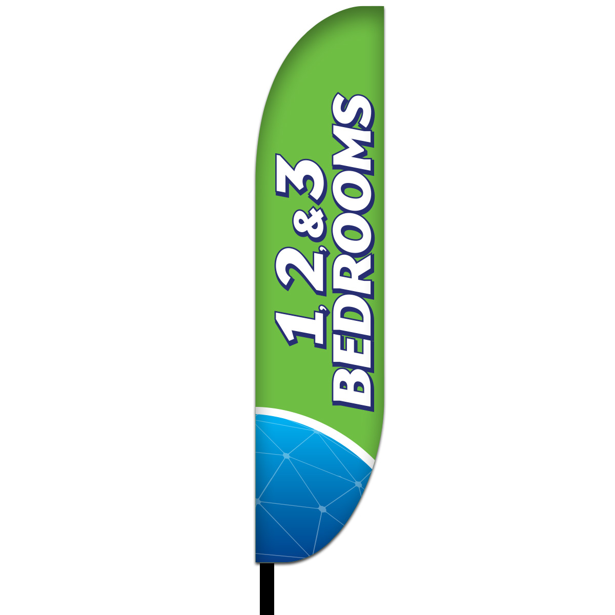 1-2-3 Bed Rooms Feather Flag Design