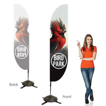 Feather Banners Single Sided, Right Facing Option with Pole on the Left