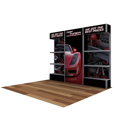 10x10 Alpine Trade Show Booth 03 with Display Shelves