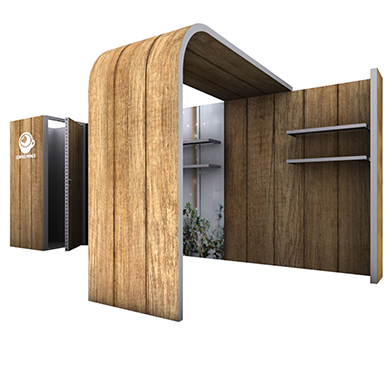 20x10 Modco Modular Trade Show Booth 15 with Storage, Arch and Shelves