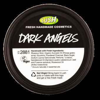 Embalagem em pote reciclado Dark Angels limpeza com carvão