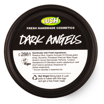 Vista dall'alto del vasetto Detergente viso e corpo per pelli impure a base di carbone Dark Angels (Diavoli a Fior di Pelle)