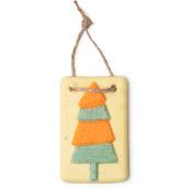 retro tree é um dos óleos de banho exclusivos de natal com o formato de um tablete com um pinheiro desenhado