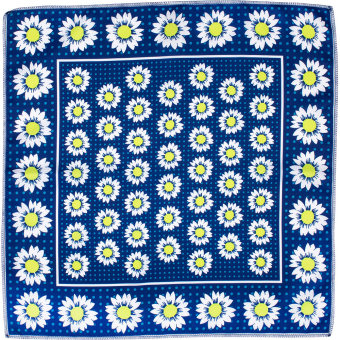 dark blue daisy themed knot wrap