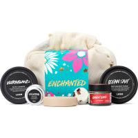 Un regalo con un envotorio de muselina a usar junto con los seis productos de cuidado facial que está a su alrededor