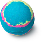 blue bath bomb with pink and yellow intertwined round the sides