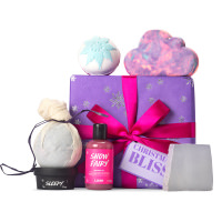 purple gift with products around it