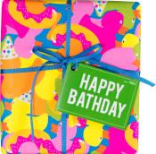 Presente colorido happy bathday para banhos felizes