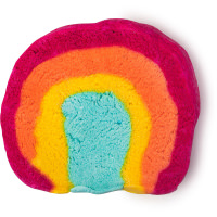 rainbow coloured bubble bar on a white background