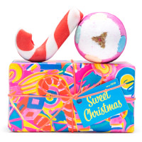 pink and blue candy cane gift with a candy cane on top
