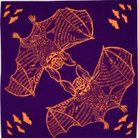 Bat Bag Knot wrap halloween con stampa di pipistrelli arancioni su sfondo viola