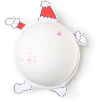 not so secret santa bomba de baño de navidad de color blanco con santa atrapado