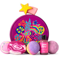 pink star themed gift tin with products around it