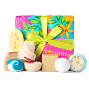 blue nature themed gift box with products round it