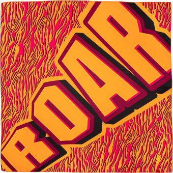 orange and pink animal print knot wrap with the word 'roar' written on it