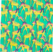 A green knot wrap with lots of yellow cartoon giraffes
