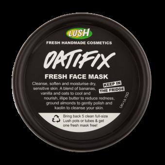 Pote preto da máscara Oatifix para guardar no frigorifico