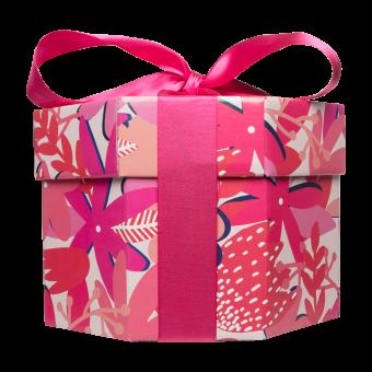 Die Seitenansicht des Think Pink Geschenkes