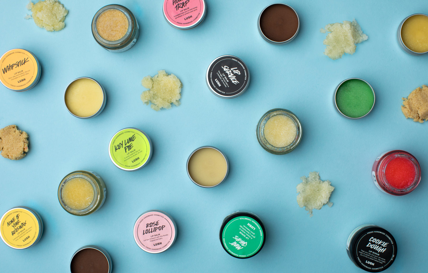 a selection of lip scrubs and lip balms