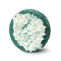 A round, turquoise shampoo bar with chunky sea salt on top