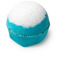 Big Blue bomba de baño de color azul con blanco