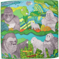 Ein quadratisches Tuch bedruckt mit Gorillas