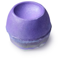 glittery purple bath bomb with silver at the bottom