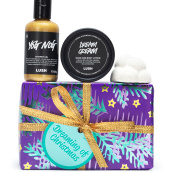 A purple and gold gift set