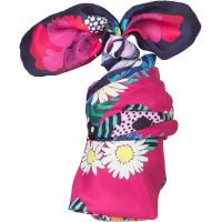 Um lenço de motivos florais, cor-de-rosa, roxo e branco para embrulhar a tua prenda do Dia da Mae