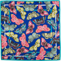 a dark blue knot wrap with butterflies