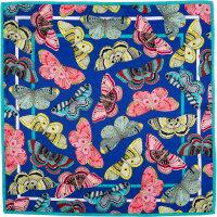a dark blue knot wrap with butterflies