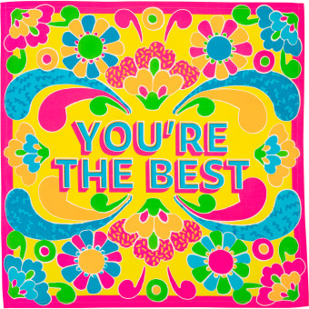 yellow, pink, blue and green patterned knot wrap with 'you're the best' written on it in blue
