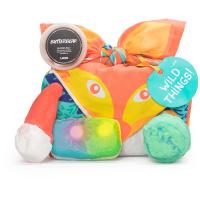 Confezione regalo di Natale Wild Things avvolta in un knot wrap in cotone biologico e il suo contenuto