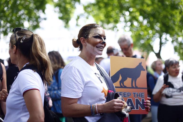 Demonstrator at wildlife march