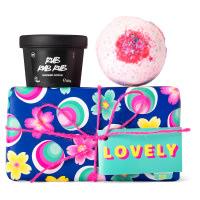 lovely caja de regalo con productos para exfoliar el cuerpo