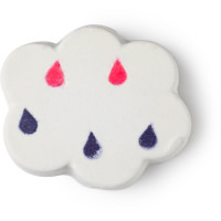 A white bath bomb in the shape of a cloud with pink and blue drops