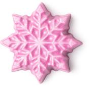 Feste, pinke  Körperbutter in der Form eines Sternes mit einer Schneeflocke als Deko