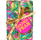 Green, pink, gold and blue patterned present with gold Ribbons on a white background