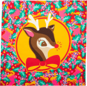 A red and green knot wrap with a reindeer in the middle