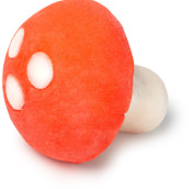 red and white mushroom shaped bubble bar with a toadstool theme