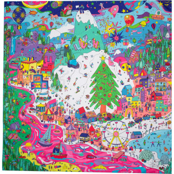 cartoon christmas themed knot wrap with colourful trees people and elves and decorations