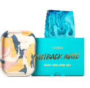 a blue outback mate soap slice with a handmade clay soap dish