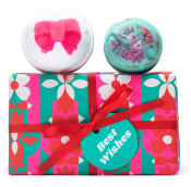 A green rectangle gift with bath bombs on top
